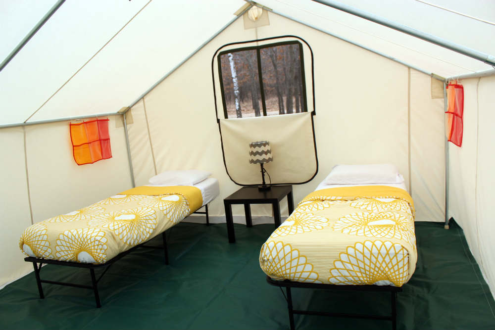 Two Beds Gl&ing Village $700.00 8u0027 x 10u0027 fire resistant tent 2 single beds (2u00276  x 6u00278 ) 2 pillows 2 bed sheet sets 2 blankets 2 wall organizers & Country Fest Glamping - CANVAS TOWN EVENTS