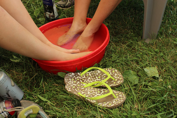 Footbath in glamping village