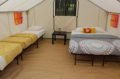 One queen and two single bed glamping tent