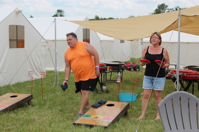 Glamping village with yard games