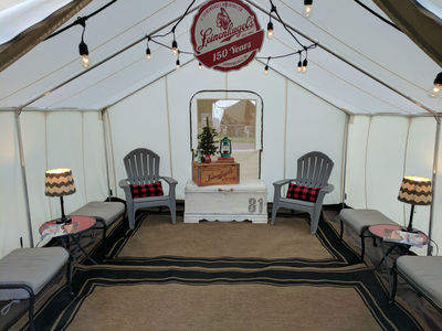 Northwoods lounge theme in the glamping tent